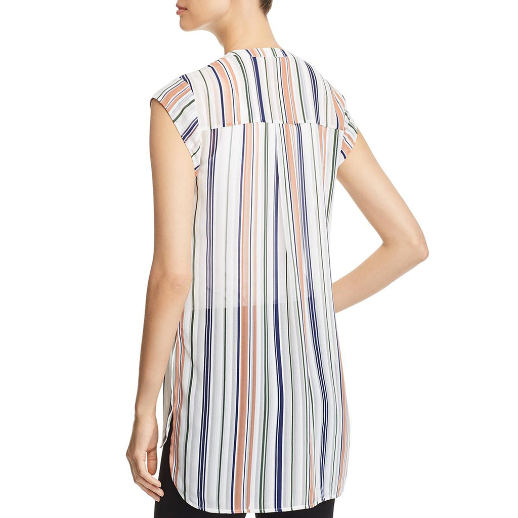Yieldings Discount Clothing Store's Sheer Striped Button-Down Top by Daniel Rainn in Ivory