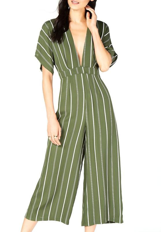 Yieldings Discount Clothing Store's Stripe Cropped Jumpsuit by Sage in Green Stripe