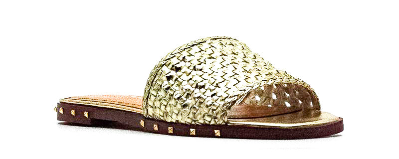 Yieldings Discount Shoes Store's Jeremy Leather Weave and Studded Sandals by Marc Fisher in Gold