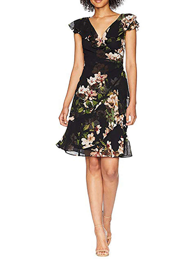 Yieldings Discount Clothing Store's Webby Day Dress by Lauren by Ralph Lauren in Black/Cream/Multi