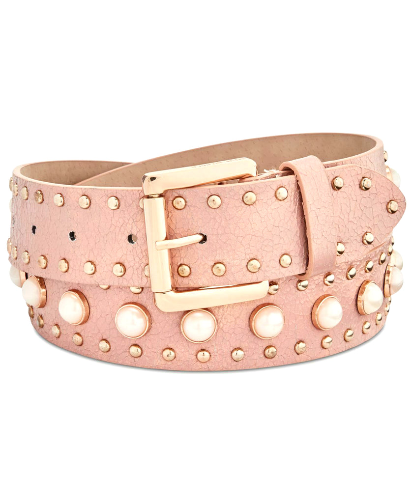 Yieldings Discount Accessories Store's Pearl and Studded Belt by Steve Madden in Fluorescent Pink