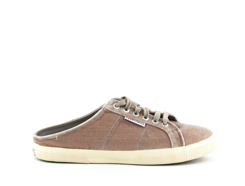 Yieldings Discount Shoes Store's 2288 Crushed Velvet Backless Sneakers by Superga in Light Grey