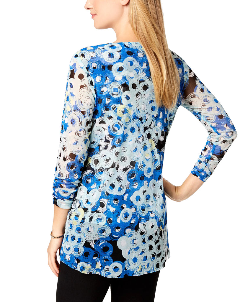 Yieldings Discount Clothing Store's Petite Printed Asymmetrical Double Circles Top by Alfani in Blue
