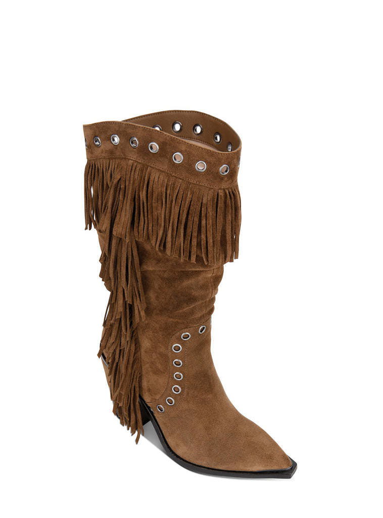 Yieldings Discount Shoes Store's West Side Fringe Boots by Kenneth Cole in Taupe