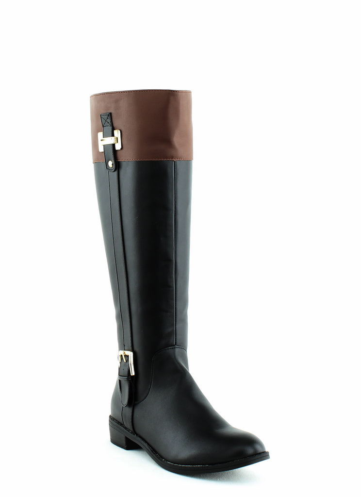 Yieldings Discount Shoes Store's Deliee Tall Boots by Karen Scott in Black/Cognac