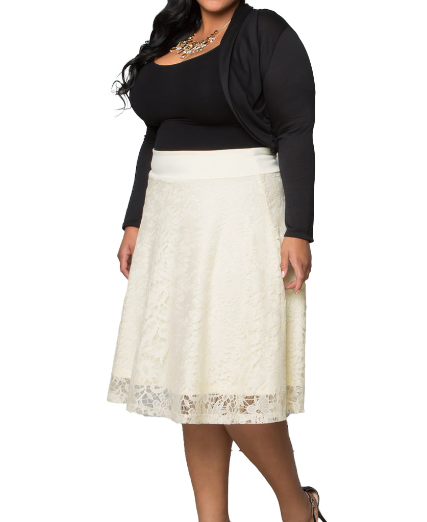 Yieldings Discount Clothing Store's Matinee Lace Midi Skirt by Kiyonna in Ivory