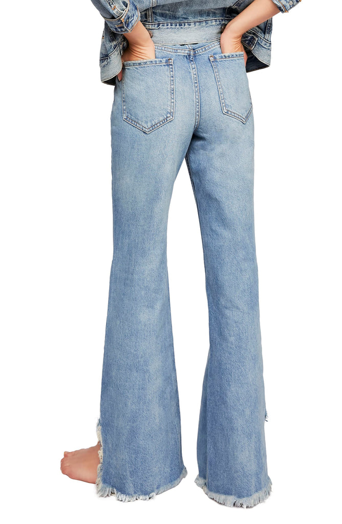 Yieldings Discount Clothing Store's Vintage Flare Jeans by We The Free By Free People in Maya Blue