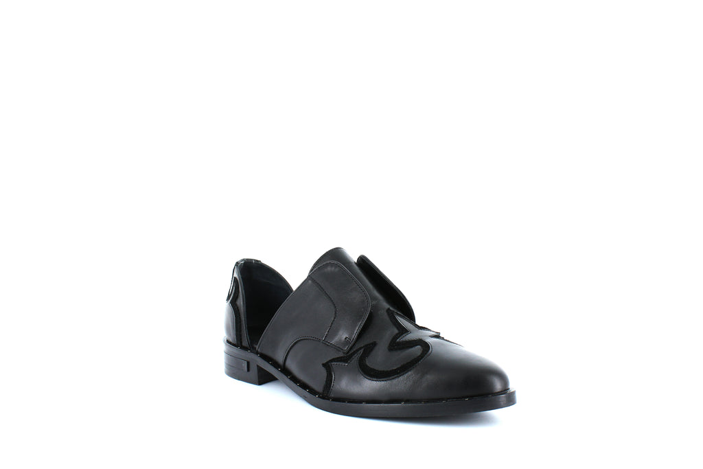 Yieldings Discount Shoes Store's Western Leather D'Orsay Loafers by Freda Salvador in Black