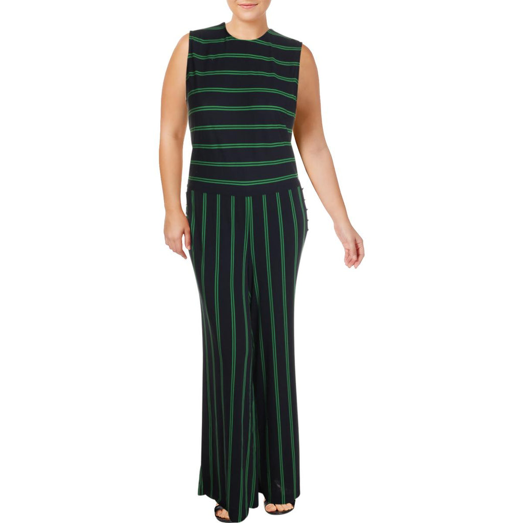 Yieldings Discount Clothing Store's Plus Tobi Striped Embellished Jumpsuit by Lauren by Ralph Lauren in Lauren Navy