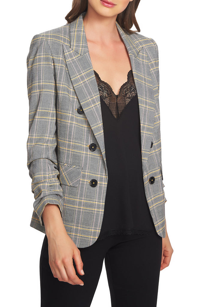 Yieldings Discount Clothing Store's Ruched Sleeve Blazer by 1.State in Rich Black