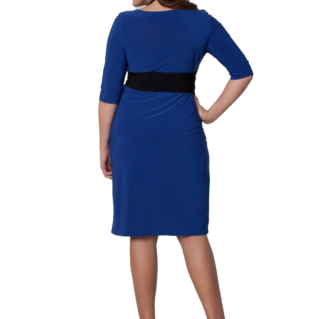 Yieldings Discount Clothing Store's Harlow Faux Wrap Dress by Kiyonna in Blue