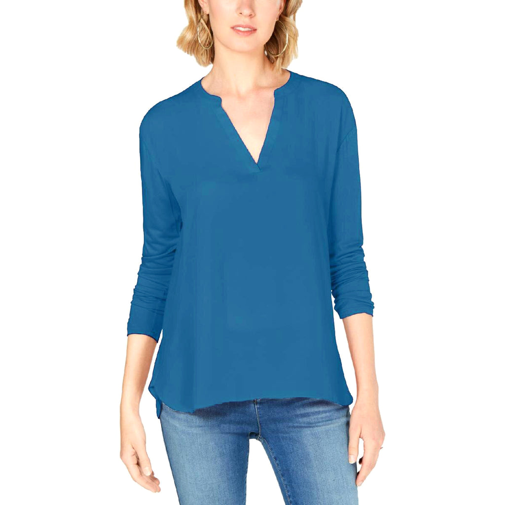 Yieldings Discount Clothing Store's Mixed-Materials Split-Neck Top by INC in Lyric Blue