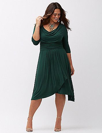Yieldings Discount Clothing Store's Draped in Class Dress by Kiyonna in Green