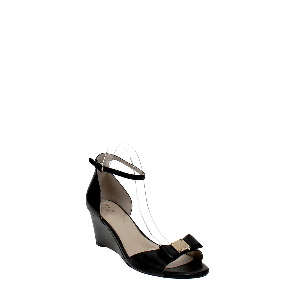 Yieldings Discount Shoes Store's Tali Grand Bow Wedge Sandals by Cole Haan in Black