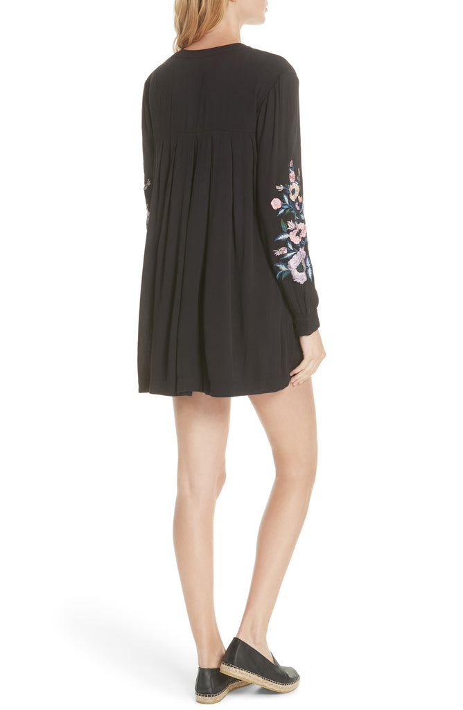 Yieldings Discount Clothing Store's Mia Embroidered Mini Dress by Free People in Black Combo