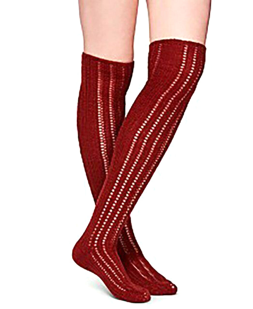 Yieldings Discount Clothing Store's Woodland Pointelle Knit Over-the-Knee Socks by Free People in Terracotta