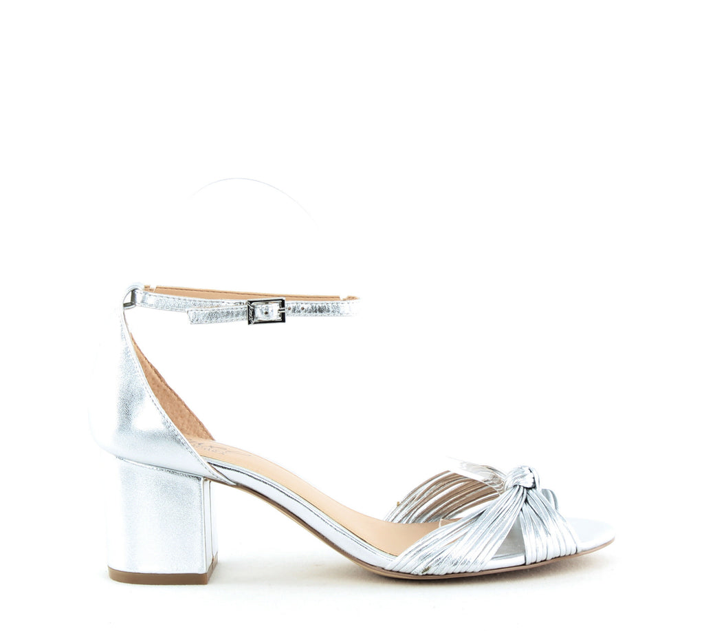 Yieldings Discount Shoes Store's Lacey Block Heel Sandals by Jewel by Badgley Mischka in Silver