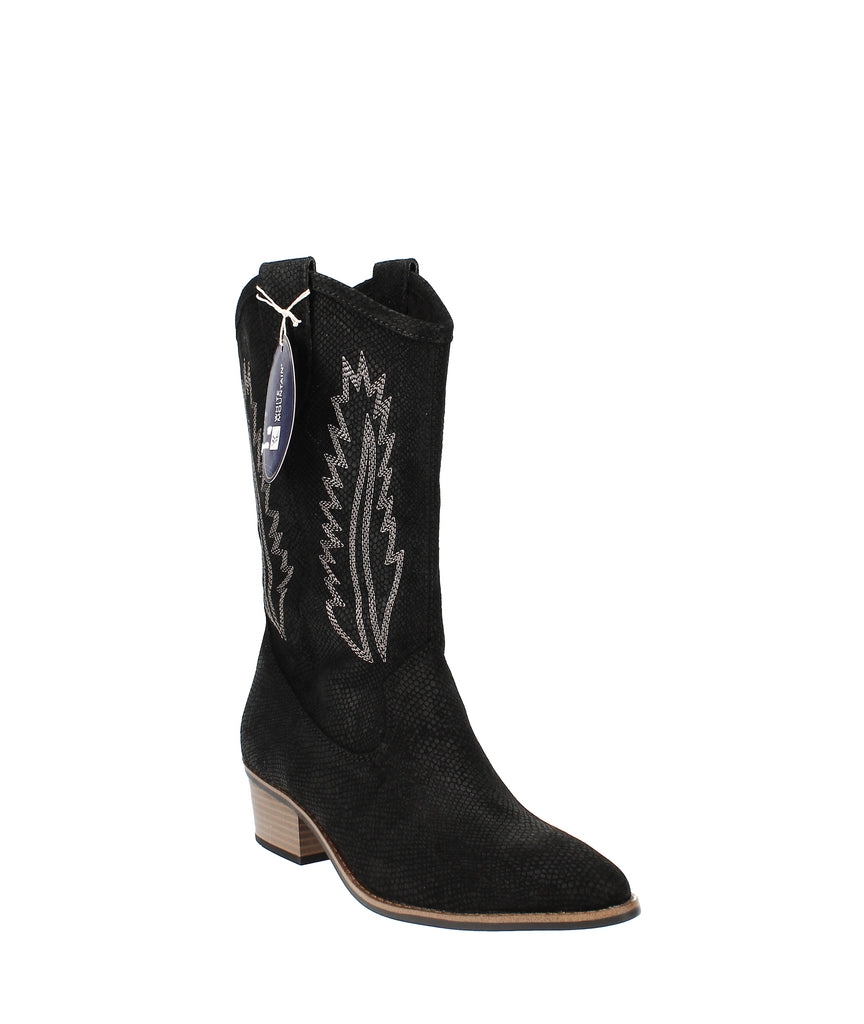 Yieldings Discount Shoes Store's Caraway Cowgirl Boot by White Mountain in Black Leather