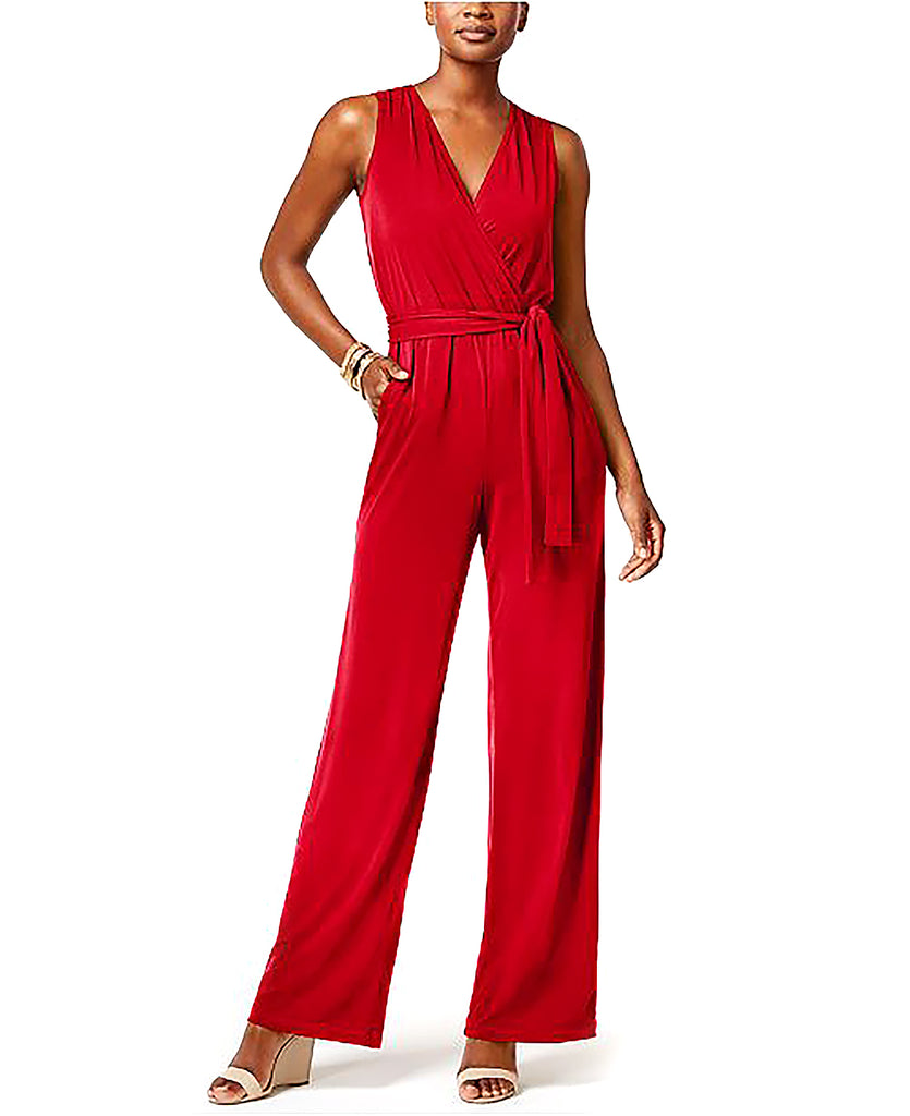 NY Collection Petite | Surplice Belted Wide-Leg Jumpsuit
