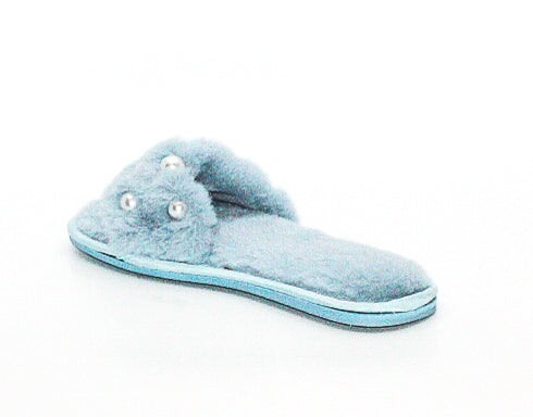 Yieldings Discount Shoes Store's Embellished Faux-Fur Slide Slippers by INC in Blue