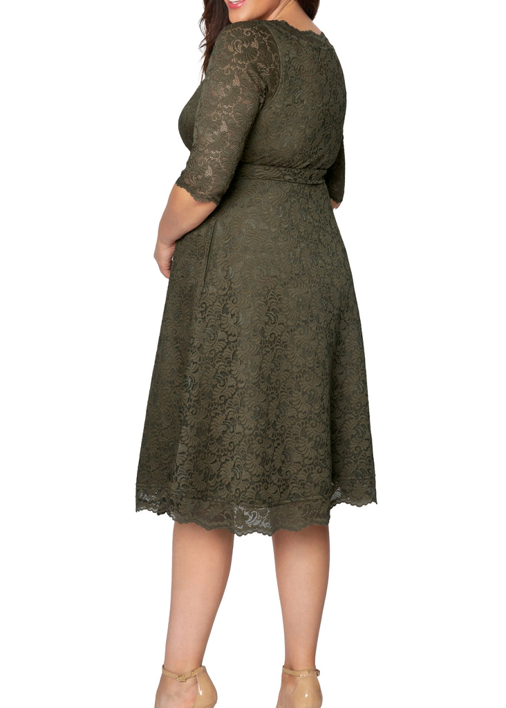 Yieldings Discount Clothing Store's Lacey Cocktail Dress by Kiyonna in Olive