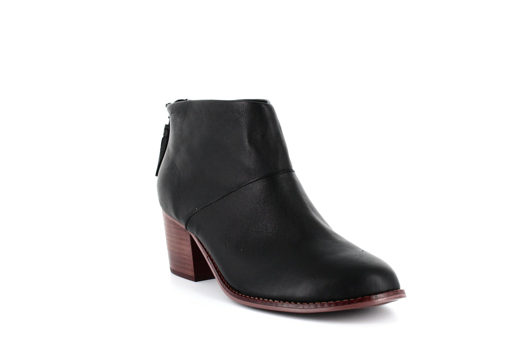 Yieldings Discount Shoes Store's Leila Leather Ankle Booties by Toms in Black