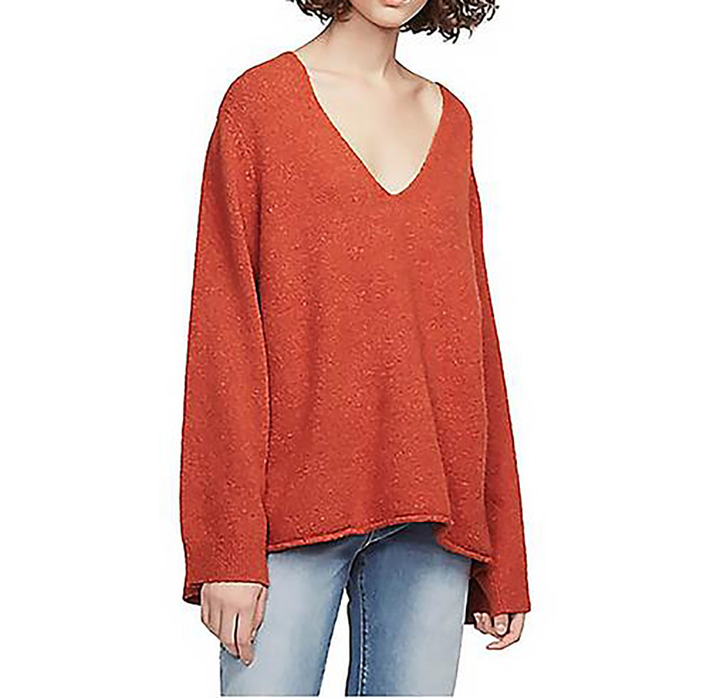 Yieldings Discount Clothing Store's Flossy V Neck Sweater by French Connection in Copper