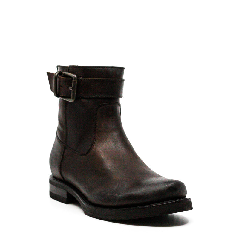 Yieldings Discount Shoes Store's Veronica Short Strap and Zipper Boots by Frye in Chocolate