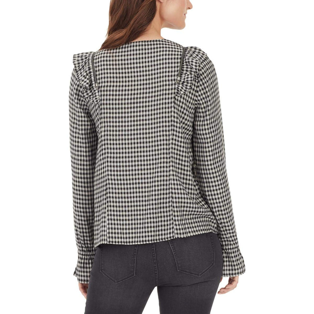 William Rast | Susannah Checkered Ruffled Button-Down Top