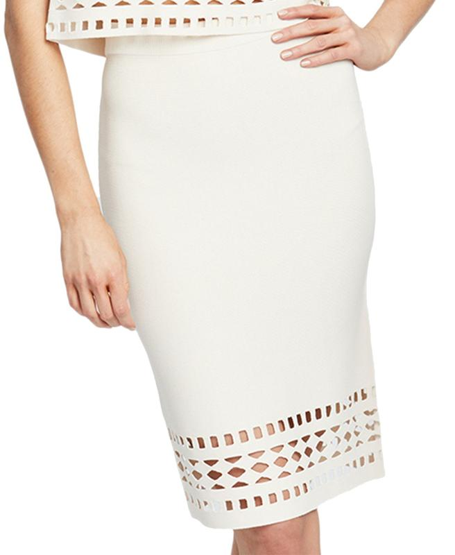 Yieldings Discount Clothing Store's Frankie Laser Cut Skirt by RACHEL Rachel Roy in Almond Milk