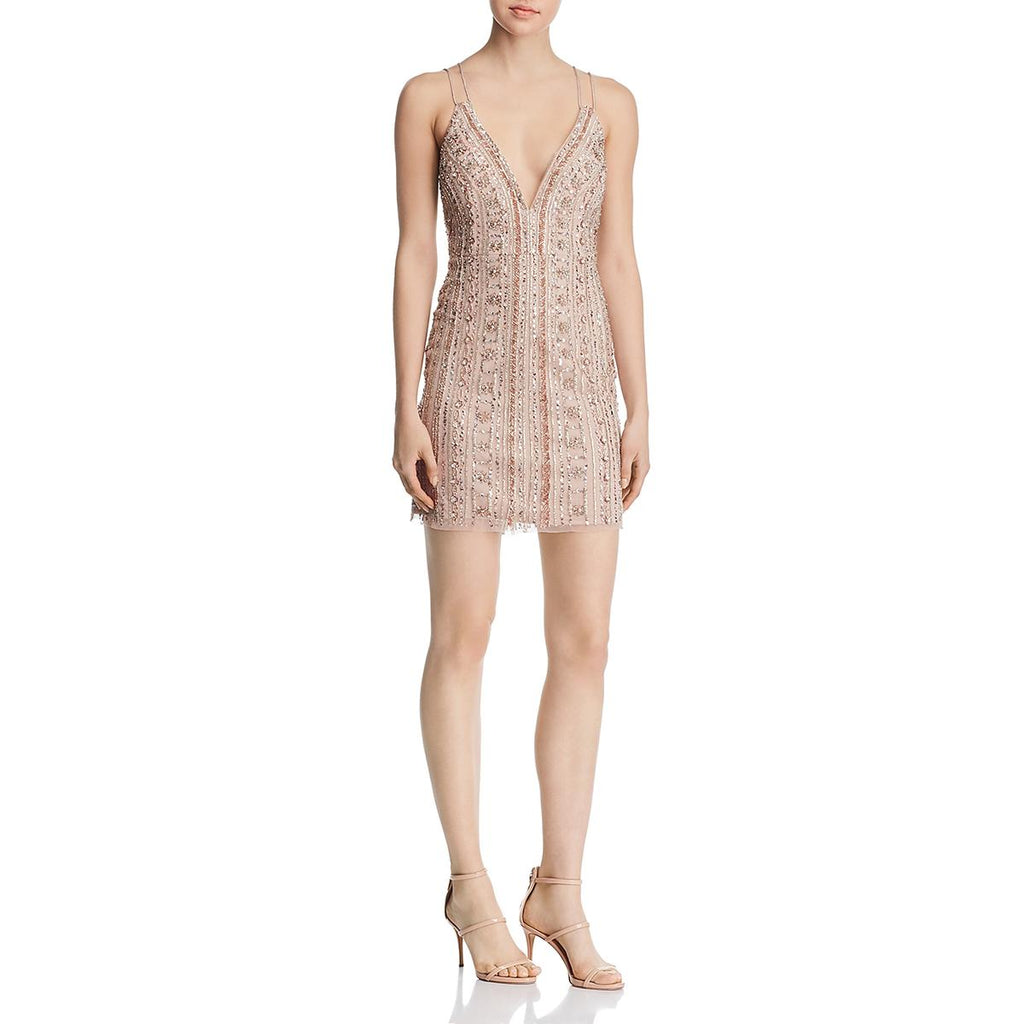 Yieldings Discount Clothing Store's Beaded Sequined Cocktail Dress by Aidan Mattox in Blush