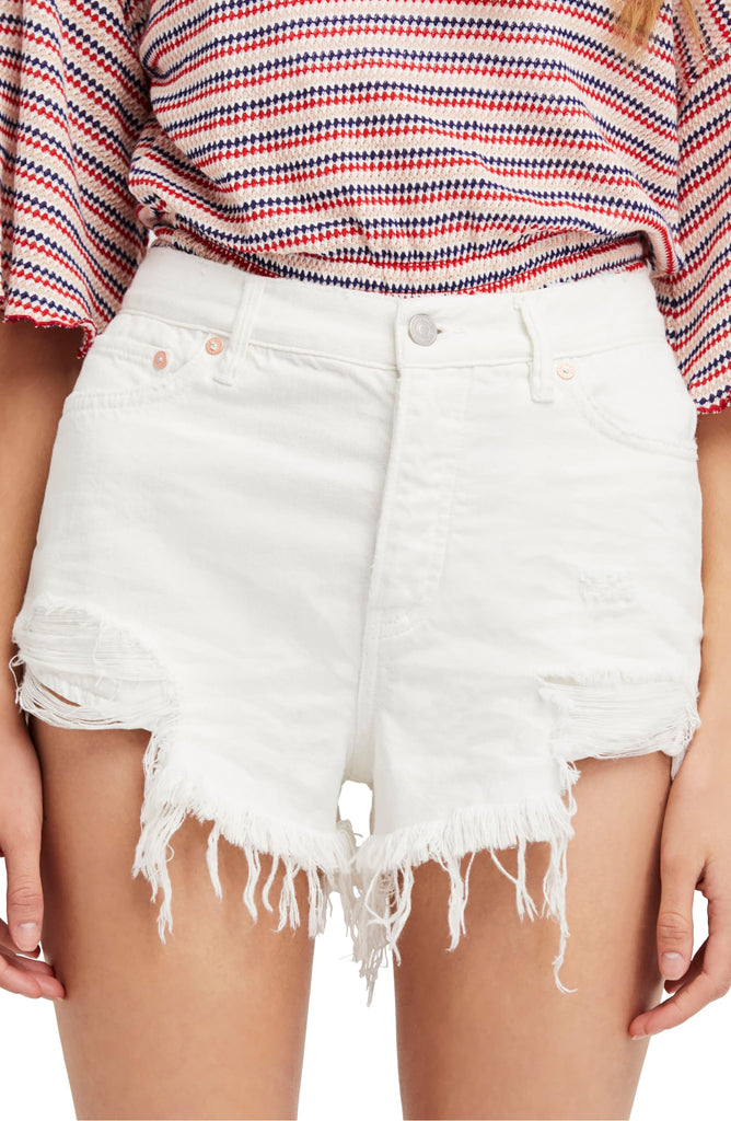 Free People | Cotton High-Rise Ripped Denim Shorts