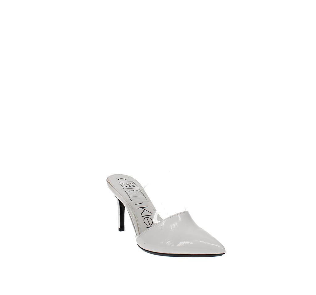 Yieldings Discount Shoes Store's Graycie Heeled Mules by Calvin Klein in White