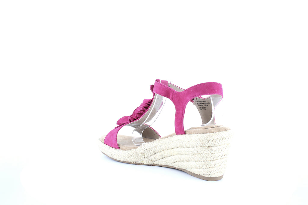 Yieldings Discount Shoes Store's Sallee Wedge Sandals by Giani Bernini in Fuchsia