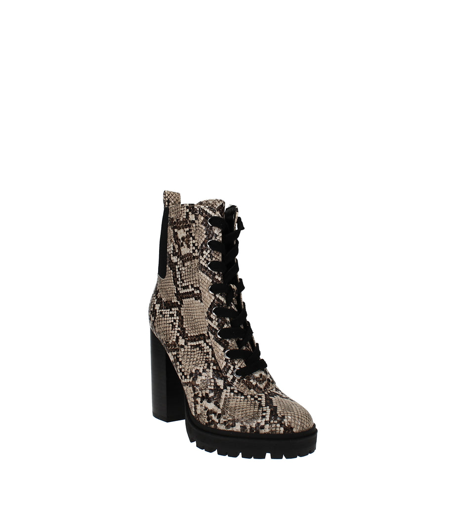 Yieldings Discount Shoes Store's Latch Lace-Up Boot by Steve Madden in Tan Snake