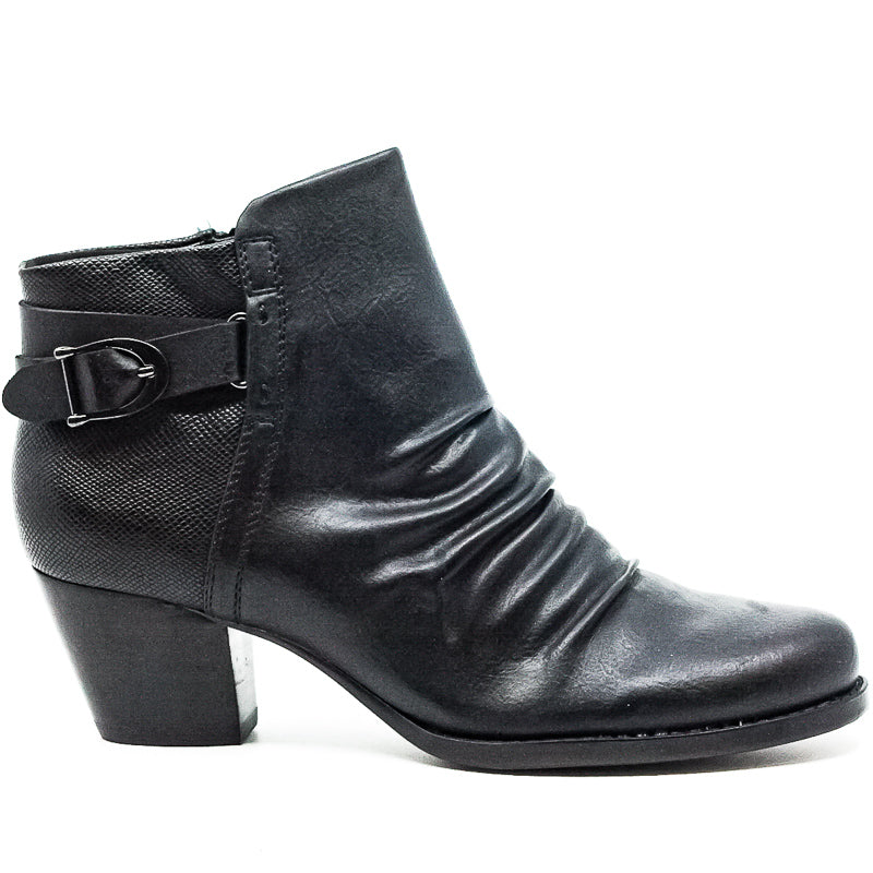 Yieldings Discount Shoes Store's Reliance Synthetic Leather Block Heel Booties by Baretraps in Black