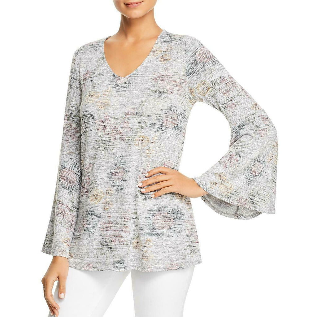 Yieldings Discount Clothing Store's Bell Sleeve Floral Top by Cupio Blush in Grey Multi