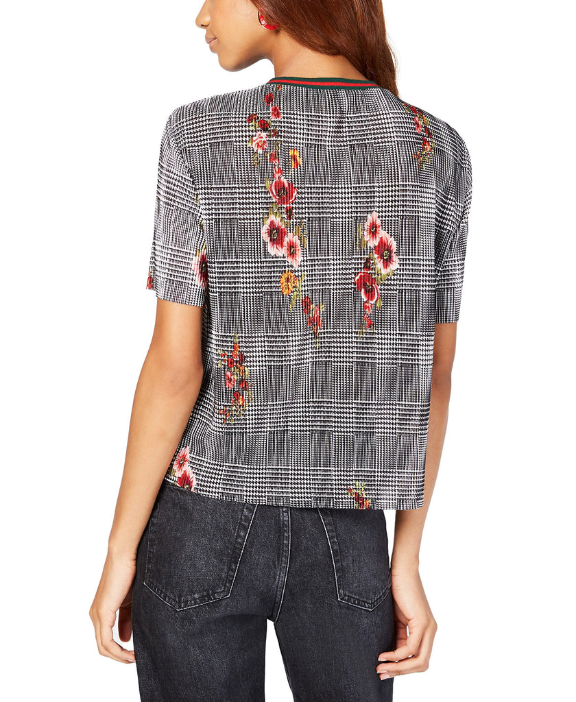 Yieldings Discount Clothing Store's Juniors' Mixed-Print Bodre Top by Gypsies & Moondust in Black Multi