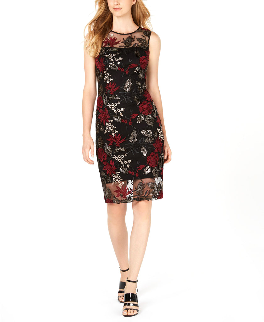 Yieldings Discount Clothing Store's Sequined Floral Embroidered Illusion Sheath Dress by Calvin Klein in Black/Red