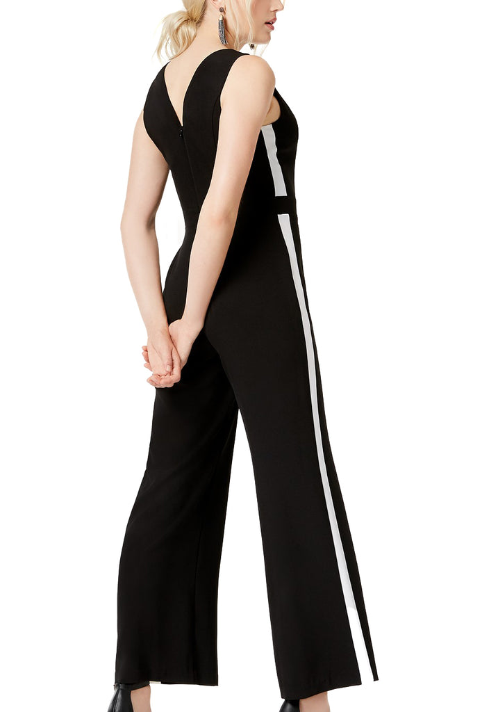 Yieldings Discount Clothing Store's Boho Sunset Black White V-Neck Stripe Jumpsuit by Bar III in Deep Black