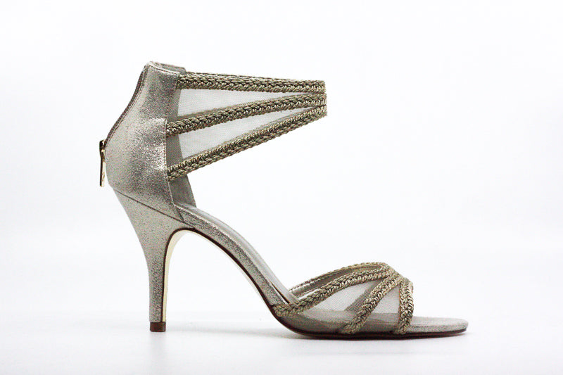 Yieldings Discount Shoes Store's Platino Metallic Dress Heels by Adrianna Papell in Platinum