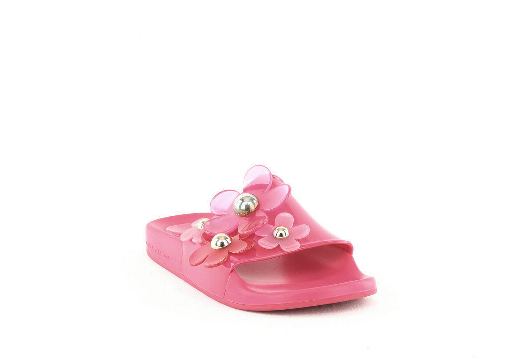 Yieldings Discount Shoes Store's Daisy Aqua Slide Sandals by Marc Jacobs in Fuchsia