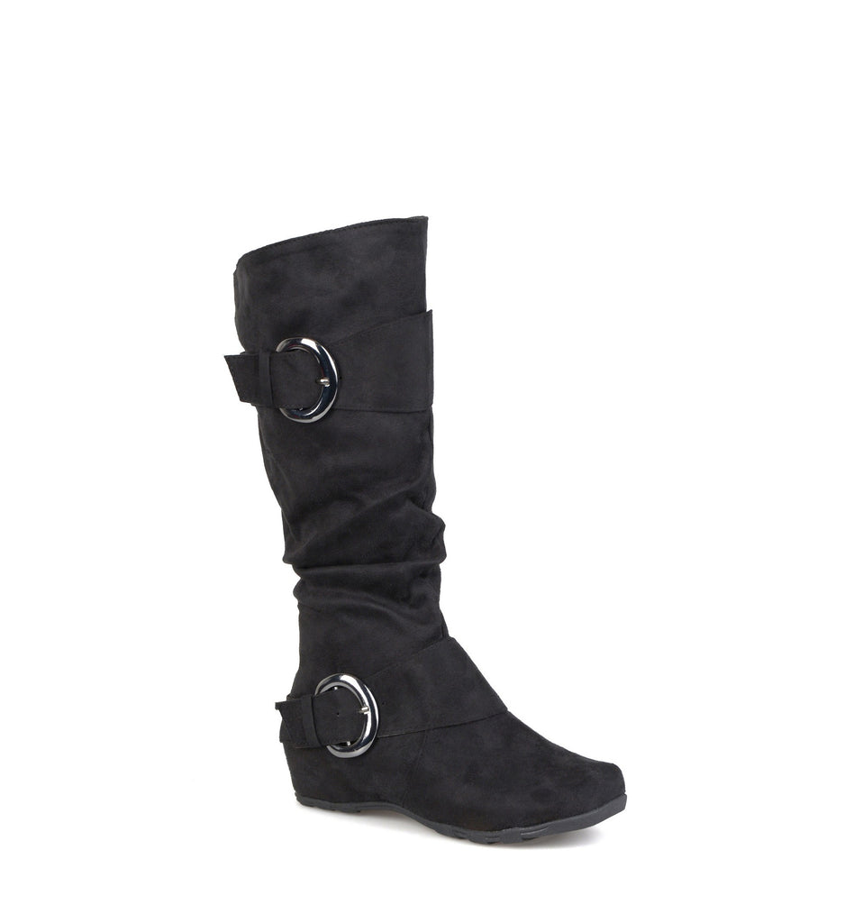 Yieldings Discount Shoes Store's Jester Wide-Calf Boots by Journee Collection in Black Suede