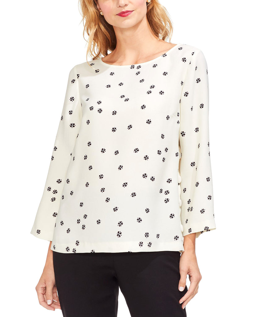 Yieldings Discount Clothing Store's Re-Set Ditsy Side Button Top by 1.State in Pearl Ivory