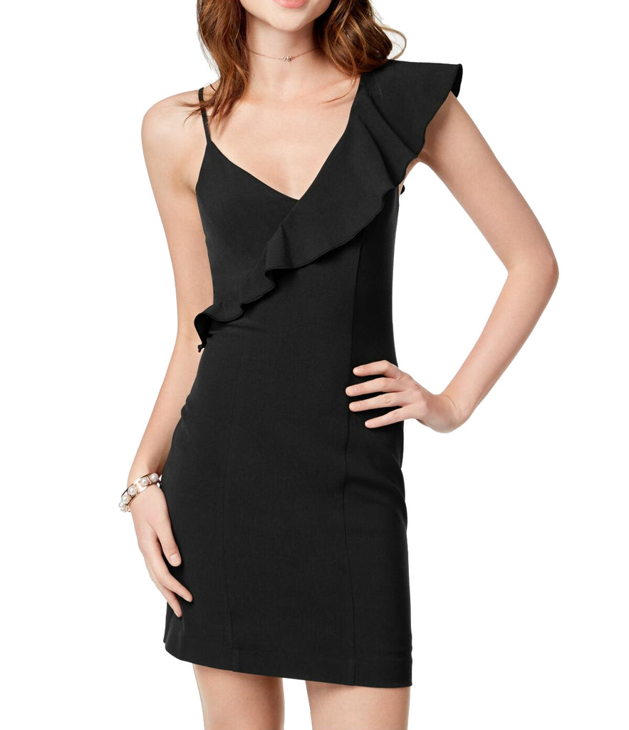 Yieldings Discount Clothing Store's One-Shoulder Bodycon Dress by XOXO in Black