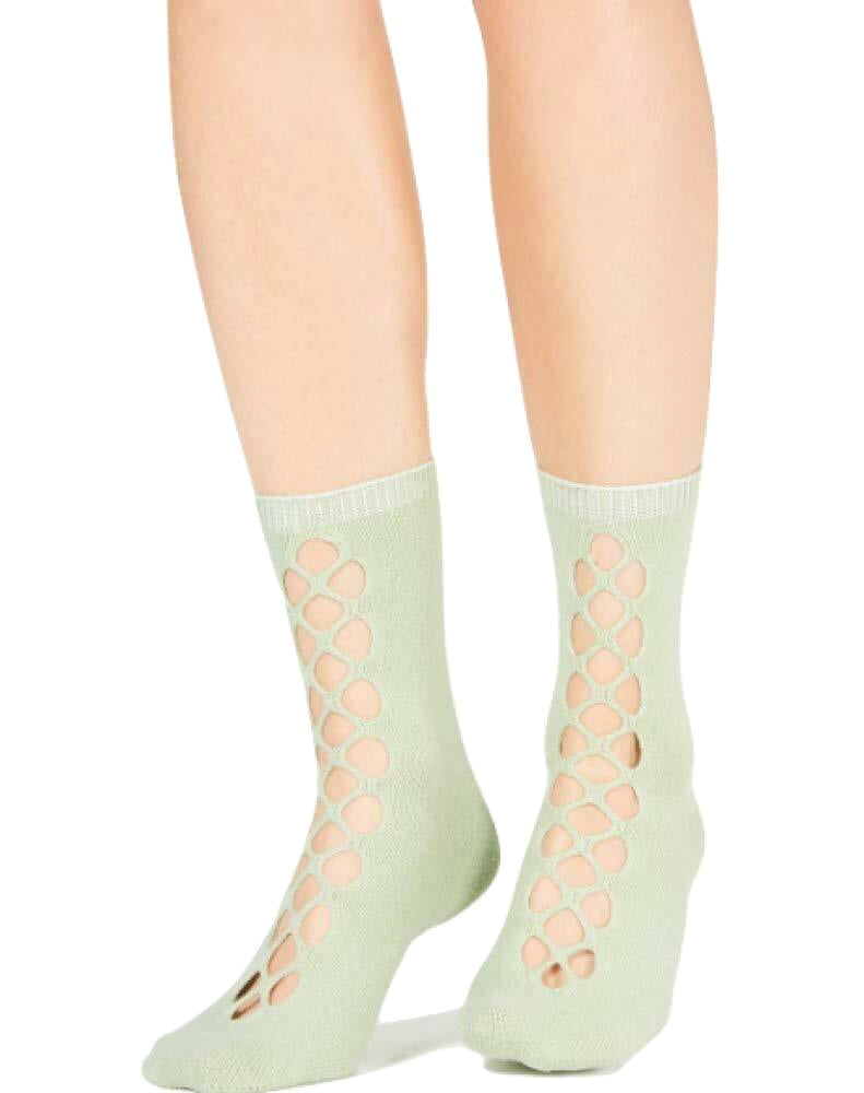 Yieldings Discount Clothing Store's Bonjour Cutout Ankle Socks by Free People in Green