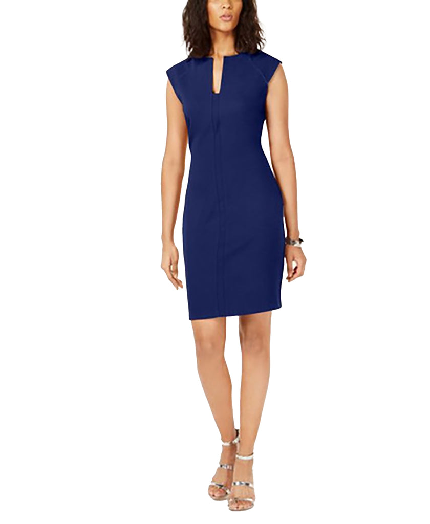 Yieldings Discount Clothing Store's Split-Neck Bodycon Dress by Bar III in Navy Blazer