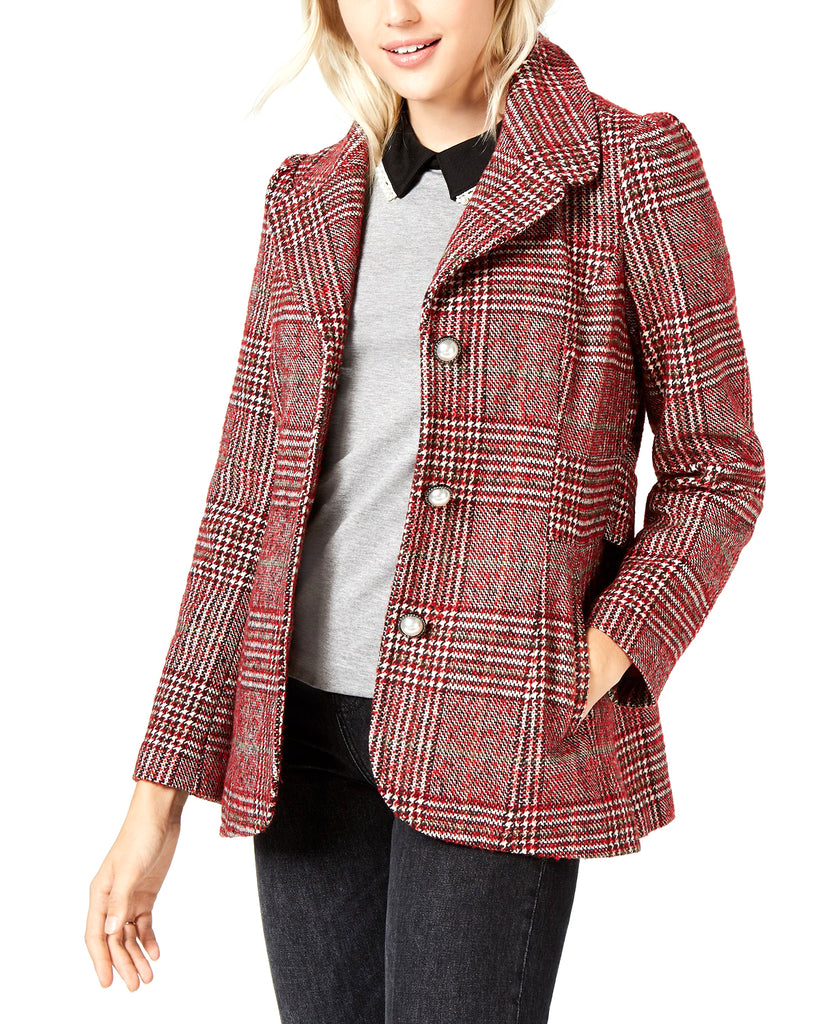 Yieldings Discount Clothing Store's Plaid-Print Pea Coat by Maison Jules in Red Plaid