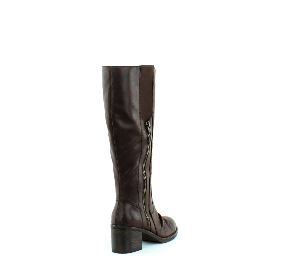 Yieldings Discount Shoes Store's Dallia Riding Boots by Baretraps in Dark Brown