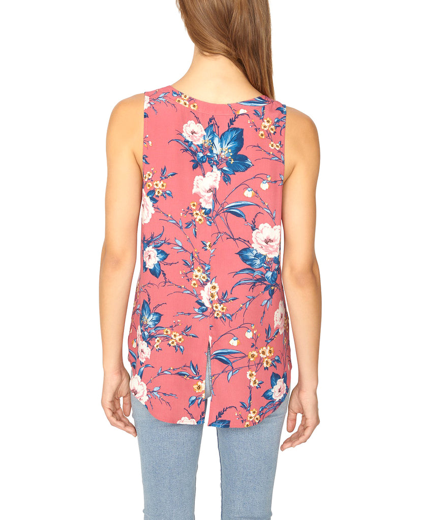 Yieldings Discount Clothing Store's Floral-Print Button-Front Sleeveless Blouse by Sanctuary in Full Bloom